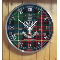 Queens Own Highlanders personal Clock with both Tartans