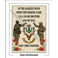 Queen's Own Highlanders Brother 10 x 8  Print